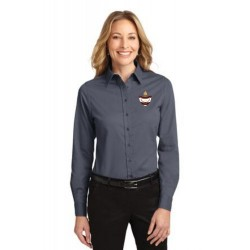 CLEARANCE - Grey Ladies Long Sleeve Easy Care Oxford
