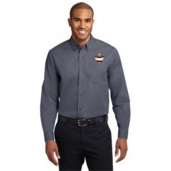 CLEARANCE - Grey Men's Long Sleeve Easy Care Oxford