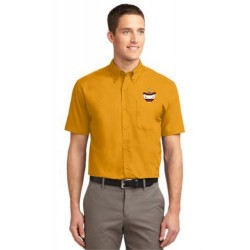CLEARANCE - Gold Men's Short Sleeve Easy Care Oxford